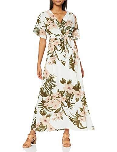 Yumi Women's Tropical Pastel Print Dress White (Cream 19), 8 (Size:8)