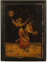 Rejuvenation Framed Intricate Marquetry Dancing Scene c1895