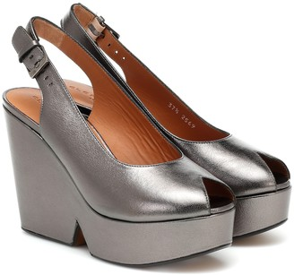 Clergerie Dylan leather slingback platform pumps