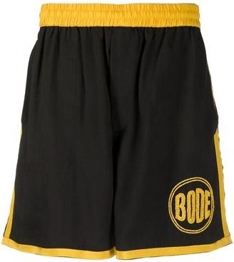 Bode Bead-Embellished Logo Track Shorts