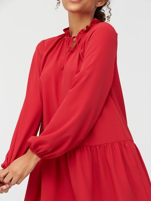 Very Tie Neck Longline Blouse - Red
