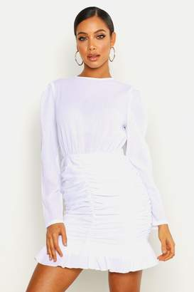 boohoo Crinkle Ruched Detail Lace Sleeve Mini Dress