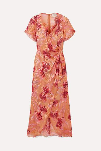 Anna Sui Lotus Pod Devore Silk-blend Chiffon Midi Dress - Pink