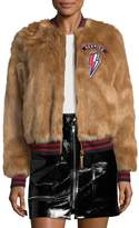 Mother Women's The Letterman Patch Faux Fur Jacket
