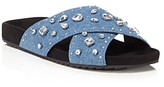 Rebecca Minkoff Theo Jeweled Denim Pool Slide Sandals - 100% Exclusive