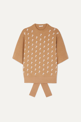 Chloé Embroidered Wool-blend Sweater - Beige