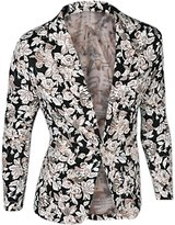 uxcell Allegra K Men One-Button Floral Blazer Jacket XL