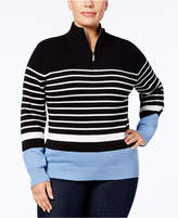 Karen Scott Plus Size Cotton Striped Half-Zip Sweater, Created for Macy's
