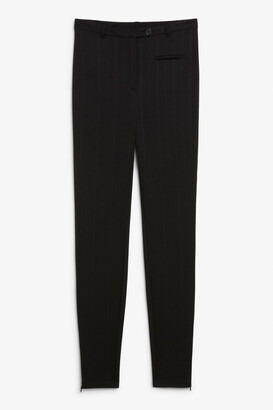 Monki Pinstriped ankle zip trousers
