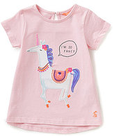 Joules Baby/Little Girls 12 Months-3T Maggie Unicorn Applique Short-Sleeve Top