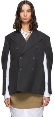 Maison Margiela Grey Wool Double-Breasted Blazer