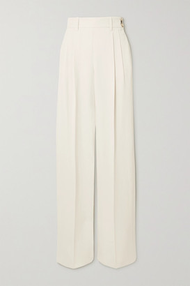 Bouguessa Liezl Pleated Twill Straight-leg Pants - White