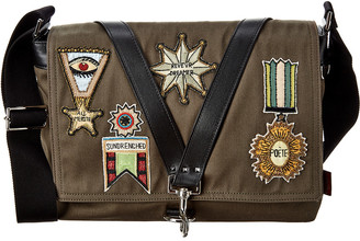 Valentino Canvas & Leather Messenger Bag