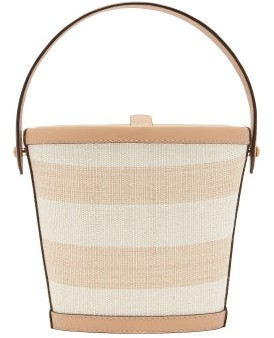 Hunting Season The Bucket Striped-rattan And Leather Bag - Tan
