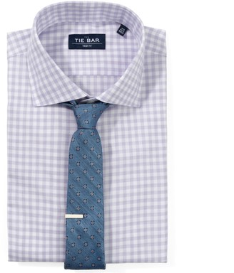 The Tie Bar Lavender Heathered Gingham Non-Iron Shirt