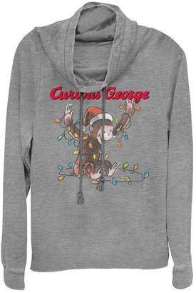 Fifth Sun Curious George Christmas Light Tangle Sketch Cowl Neck Sweater