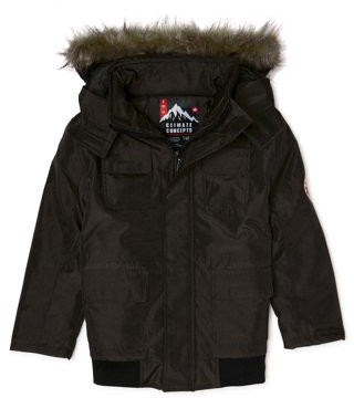Climate Concepts Big Boys Oxford Nylon Jacket with Removable Faux Fur Trim Hood, Sizes 8-20