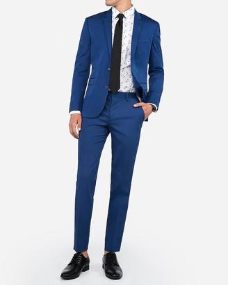 Express Extra Slim Blue Cotton-Blend Stretch Suit Pant