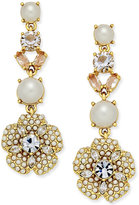 Kate Spade Gold-Tone Imitation Pearl and Crystal Flower Drop Earrings