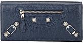 Balenciaga Women's Giant Continental Wallet-BLUE
