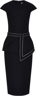 Safiyaa Peplum-Detailed Stretch-Crepe Midi Dress