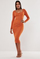 Missguided Rust Long Sleeve Ribbed Popper Midi Dress