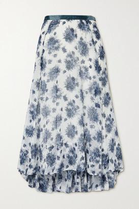 LoveShackFancy Dasha Asymmetric Velvet-trimmed Floral-print Chiffon Maxi Skirt - White
