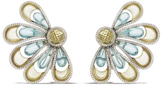 David Morris 18kt white gold Vintage Aquamarine & Citrine Flower earrings