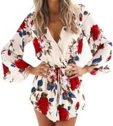 Fashion Story Women Boho Floral Print V-neck 3/4 Flare Sleeve Playsuit Short Jumpsuit Romper (US8-10/Asian M)