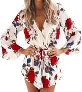 Fashion Story Women Boho Floral Print V-neck 3/4 Flare Sleeve Playsuit Short Jumpsuit Romper