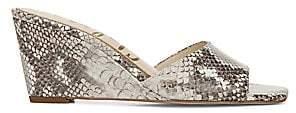 Sam Edelman Women's Tesma Snakeskin-Embossed Leather Wedge Mules
