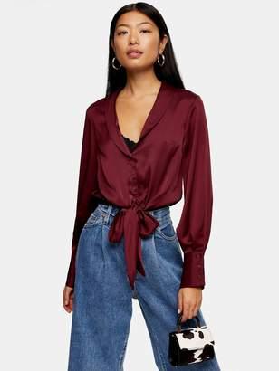 Topshop Tall Satin Knot Front Shirt - Burgundy