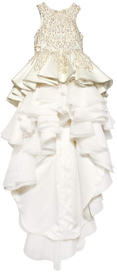 Mischka Aoki Handmade Embellished Satin Dress