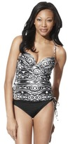 Sara Blakely ASSETS® by Women's Push Up Tankini Swim Top - Zebra Print
