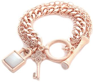 Rivka Friedman Rose Gold Clad White Cat's Eye Bracelet