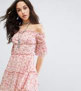 Missguided Off The Shoulder Floral Print Mini Dress