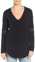 Hinge Women's Lace Inset V-Neck Sweater