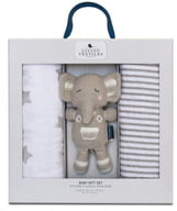 Living Textiles Baby Bento 2-Pack Swaddle Blankets & Theo Stuffed Animal Gift Set