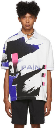 Alexander Wang White and Blue Compact Jersey Polo