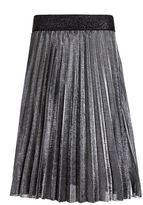 Quiz Silver Metallic Pleated Elasticated Midi Skirt