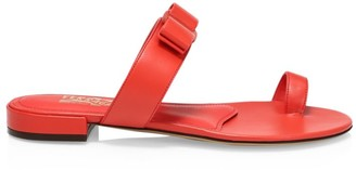 Salvatore Ferragamo Louisa Flat Leather Sandals