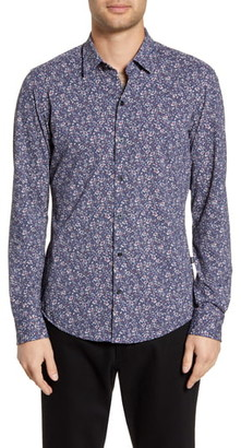 BOSS Robbie Sharp Fit Floral Print Stretch Button-Up Sport Shirt