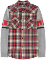 John Galliano Checked bi-material shirt