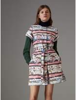 Burberry Short-sleeve Coastal Print Cotton Shirt Dress