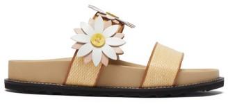 Fabrizio Viti Ingrid Floral-applique Raffia And Leather Slides - Cream Multi