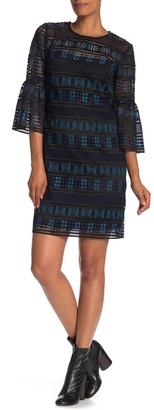 Trina Turk Dreamland Crochet Lace Bell Sleeve Shift Dress