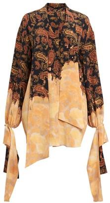Rokh Paisley & Bleached Print Draped-Cuff Silk Blouse