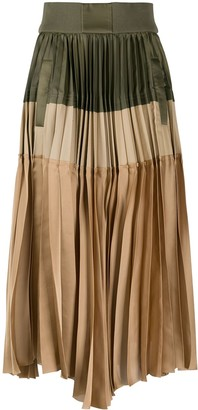 Sacai Block Color Asymmetric Skirt