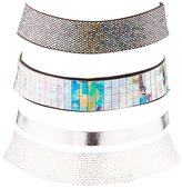 Charlotte Russe Holographic & Woven Choker Necklaces - 3 Pack