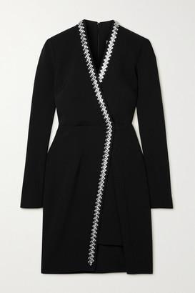 Safiyaa Amber Asymmetric Crystal-embellished Stretch-crepe Mini Dress - Black